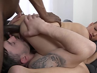 Busty cuckold French babe handles big black dick while boyfriend watches
