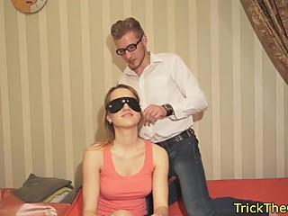 Amateur gf tricked while blindfolded