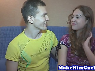 Cuckolding euro babe banged in front of bf
