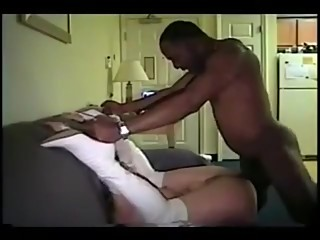 Sexy hotwife in white boots really enjoys black bull