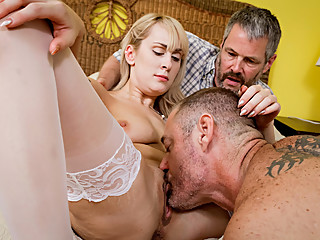Busty Blonde wife gets banged in front of her hubby