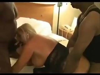 Gorgeous Blonde Milf Wife With Big Tits Fucks Two Black Cocks In A Hotel