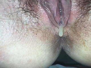 Hubby plays with my BBC creampie
