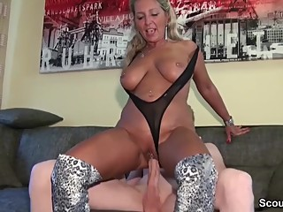 Big Tit German Amateur MILF Jenny and Big Cock Young Dude