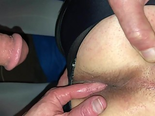 Wife fingers husband ass with cum