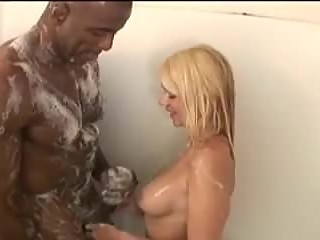 Blonde Wife Worships Her Black Bull In Shower