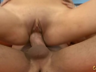 Skinny Brunette Teen Fucked Hard and Blasted with CUM