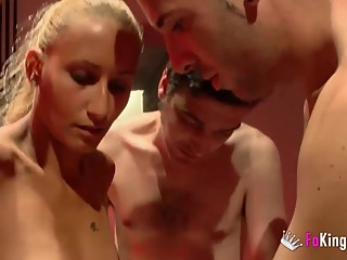 Cuckold husband gives wife to three dicks
