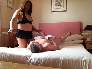 Cuckold face being rode after Slut been fucked
