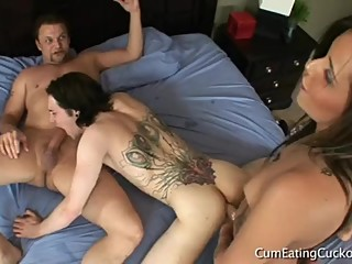 Taisa Banx dominates and pegs cuckold while fucking a house guest? I think?