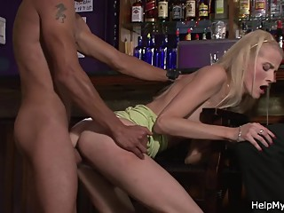 Young blonde wife cuckolds husband with barman